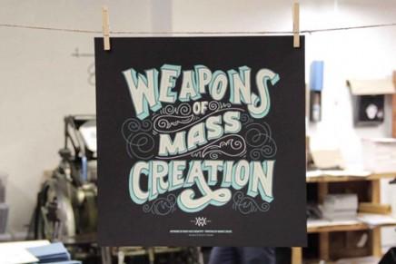 L'impression en sérigraphie des posters du Weapons of Mass Creation par Mama's Sauce