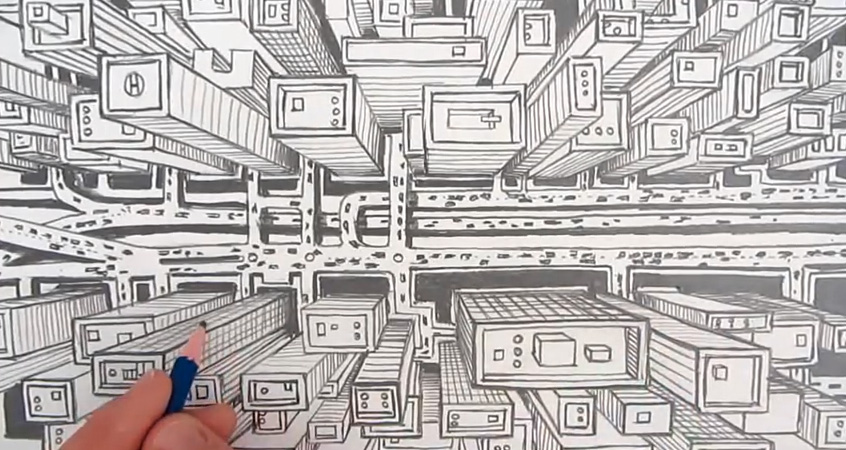 Apprendre dessiner la perspective for Apprendre a dessiner une maison en 3d