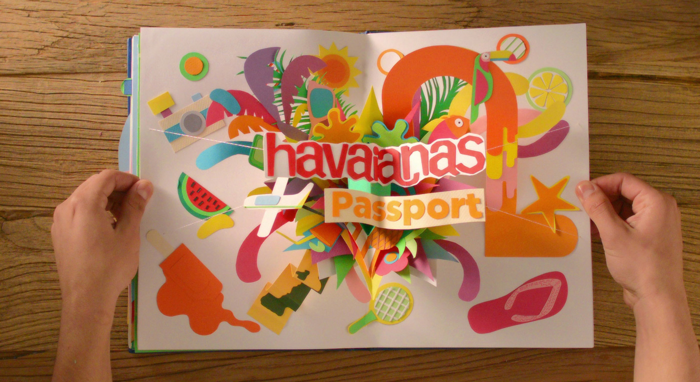 Noelia Lozano papercraft HAVAIANAS PASSPORT