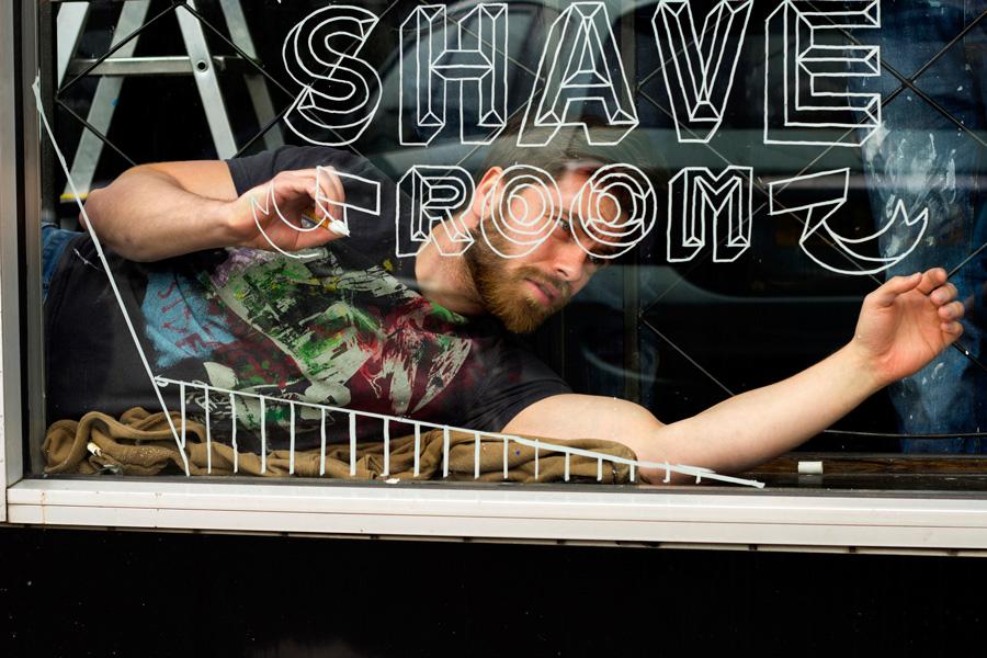 Slick's Barbershop Window lettering