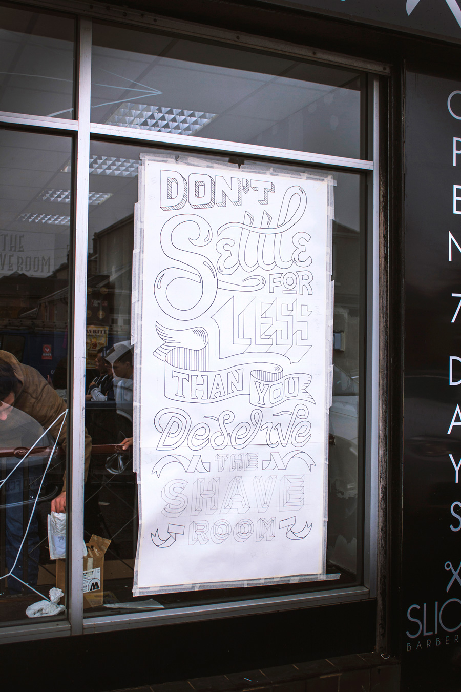 Slick's Barbershop Window lettering