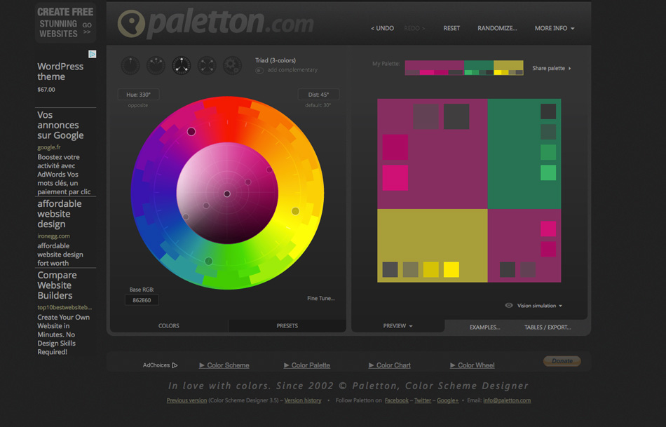 Paletton Choisir ses couleurs site internet