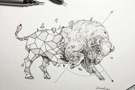 Les dessins d'animaux géométrico-réalistes de Kerby Rosanes